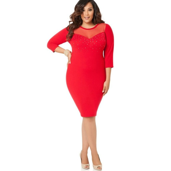 120b1bc0071 Ashley Stewart Dresses   Skirts - ASHLEY STEWART Red Mesh Beaded Sweater  Dress 18 20